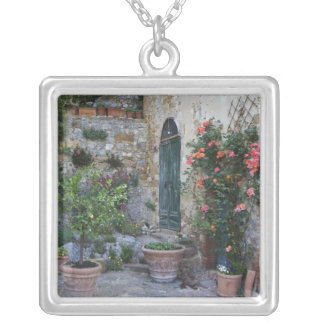 Italy, Petroio. Potted plants decorate a patio Square Pendant Necklace