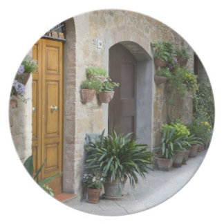 Italy, Pienza. Flower pots and potted plants Dinner Plate