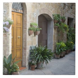 Italy, Pienza. Flower pots and potted plants Large Square Tile