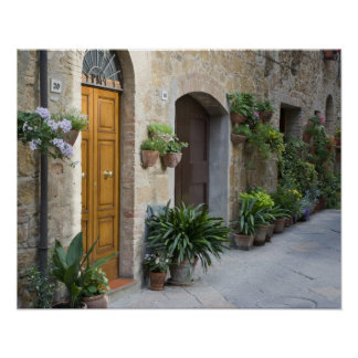 Italy, Pienza. Flower pots and potted plants Poster