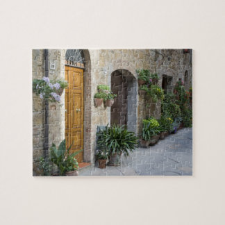 Italy, Pienza. Flower pots and potted plants Jigsaw Puzzles