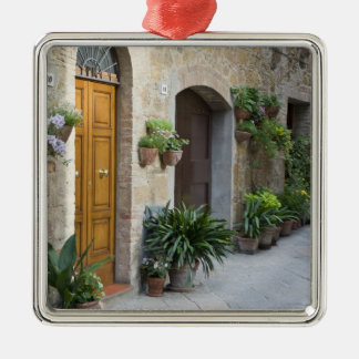 Italy, Pienza. Flower pots and potted plants Silver-Colored Square Decoration