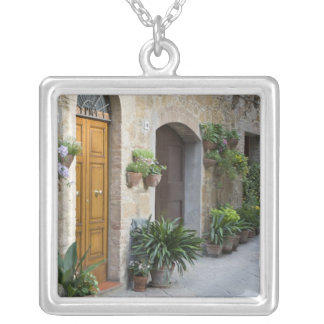 Italy, Pienza. Flower pots and potted plants Square Pendant Necklace