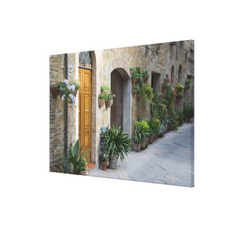 Italy, Pienza. Flower pots and potted plants Stretched Canvas Print