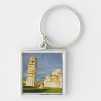 Italy, Pisa, Duomo and Leaning Tower, Pisa, 2 Silver-Colored Square Key Ring