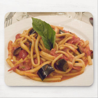 Italy, Positano. Plate of pasta and eggplant. Mouse Pad