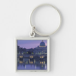 Italy, Rome St. Peter's and Ponte Sant Angelo, Silver-Colored Square Key Ring