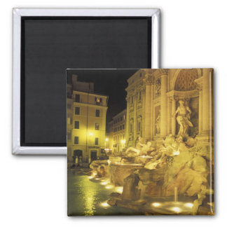 Italy, Rome. Trevi Fountain at night. Square Magnet