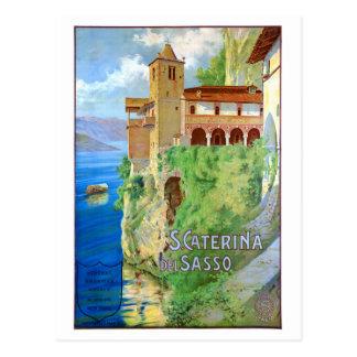 Italy Santa Caterina del Sasso Vintage Poster Postcard