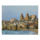 Italy, Sicily, Cefalu, View with Duomo from 2