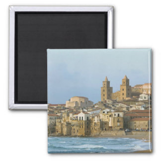 Italy, Sicily, Cefalu, View with Duomo from 2 Square Magnet