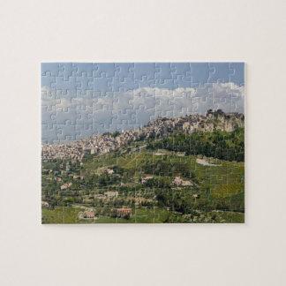 Italy, Sicily, Enna, Calascibetta, Morning View Puzzle