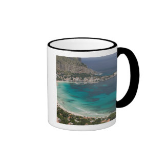 Italy, Sicily, Mondello, View of the beach from Ringer Mug