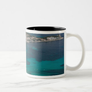 Italy, Sicily, Mondello, View of the beach from Two-Tone Mug