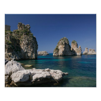 Italy, Sicily, Scopello, Rocks by Tonnara Poster