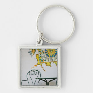 ITALY, Sicily, TAORMINA: Bam, Bar Cafe Detail Silver-Colored Square Key Ring