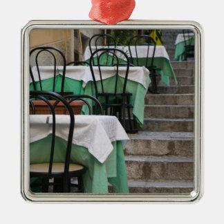 ITALY, Sicily, TAORMINA: Corso Umberto 1, Cafe Silver-Colored Square Decoration