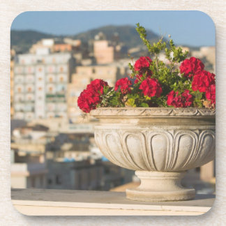 Italy, Sicily, Termini Imerese, View & Flowers Drink Coasters