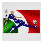 Italy Soccer Mens Athlete football Italia flag fan Print