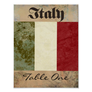 Italy Table Number Poster