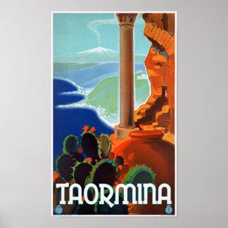 Italy Taormina Sicily Vintage Poster