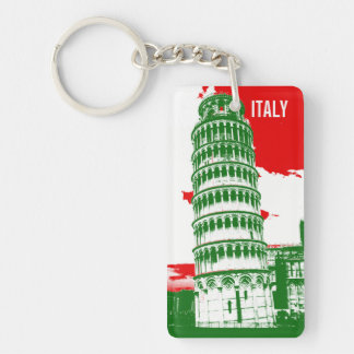 Italy | The Leaning Tower of Pisa Single-Sided Rectangular Acrylic Key Ring