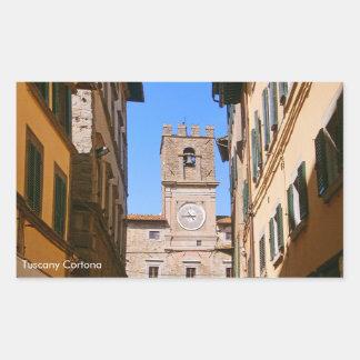 Italy Tuscany Cortona. Town Hall. Rectangular Sticker