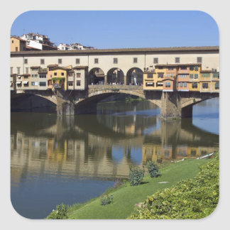 Italy, Tuscany, Florence, The Ponte Vecchio 2 Square Sticker