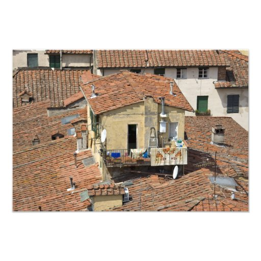 Italy, Tuscany, Lucca, View of the town and Photo Print