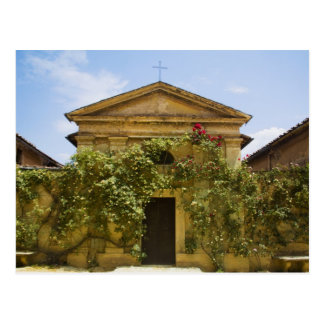 Italy, Tuscany, Old Rose Covered Church in Postcard