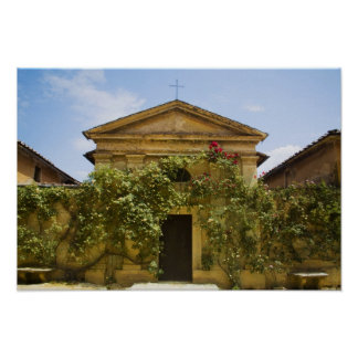 Italy, Tuscany, Old Rose Covered Church in Poster