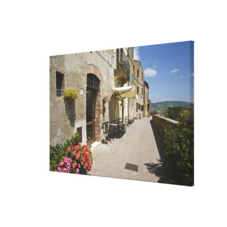 Italy, Tuscany, Pienza. Outer walkway around Stretched Canvas Print