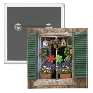 Italy, Tuscany, Siena, Window of a house in 15 Cm Square Badge