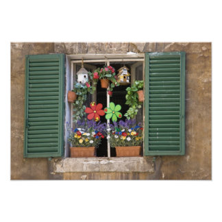 Italy, Tuscany, Siena, Window of a house in Photographic Print