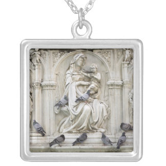 Italy, Tuscany, Sienna. Statues and birds on Square Pendant Necklace