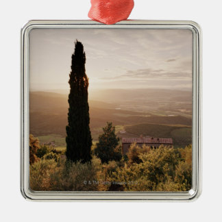 Italy,Tuscany,Val d'Orcia,Montalcino Silver-Colored Square Decoration
