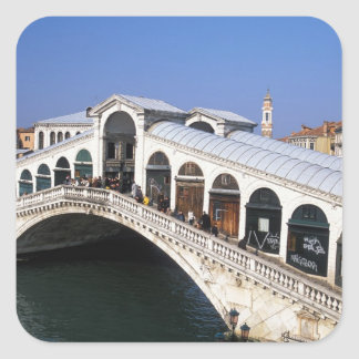 Italy, Veneto, Venice, Rialto Bridge crossing Square Sticker
