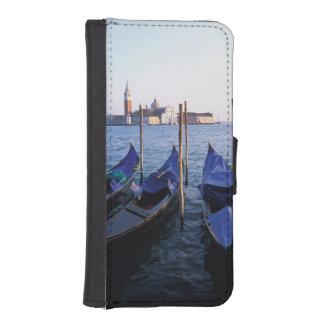 Italy, Veneto, Venice, Row of Gondolas and San