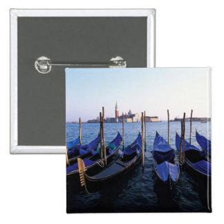 Italy, Veneto, Venice, Row of Gondolas and San 15 Cm Square Badge