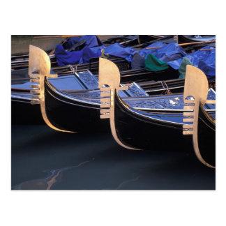 Italy, Veneto, Venice. Row of Gondolas. Postcard