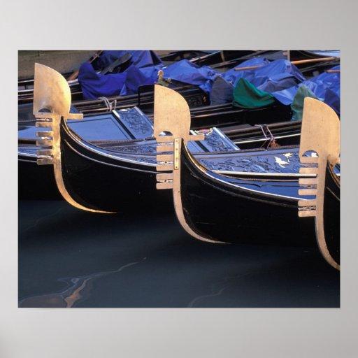 Italy, Veneto, Venice. Row of Gondolas. Print