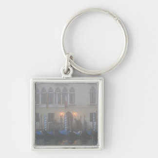 Italy, Venice. A row of gondolas seen through Silver-Colored Square Key Ring
