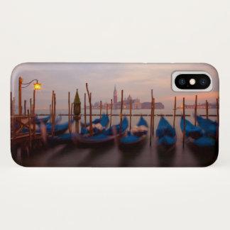 Italy, Venice. Anchored gondolas at twilight. iPhone X Case