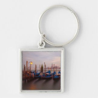 Italy, Venice. Anchored gondolas at twilight. Silver-Colored Square Key Ring