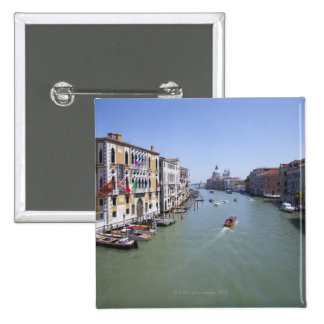 Italy, Venice, Boats on canal in city 15 Cm Square Badge