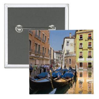 Italy, Venice, gondolas moored along canal 15 Cm Square Badge