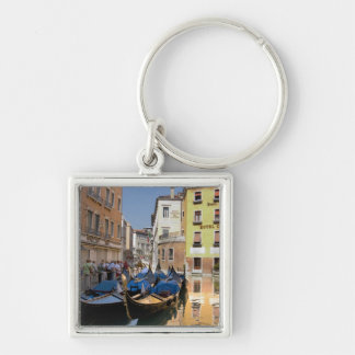 Italy, Venice, gondolas moored along canal Silver-Colored Square Key Ring