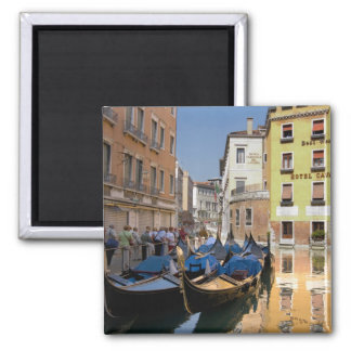 Italy, Venice, gondolas moored along canal Square Magnet