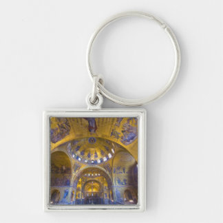 Italy, Venice. Interior of St. Marks Cathedral. Silver-Colored Square Key Ring