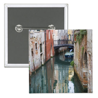 Italy, Venice, Reflections and Small Bridge of 15 Cm Square Badge